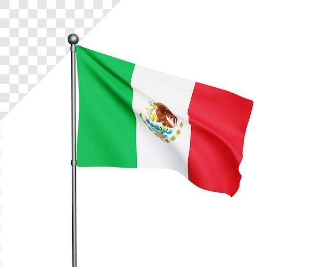 Ilustração 3d da bandeira do méxico