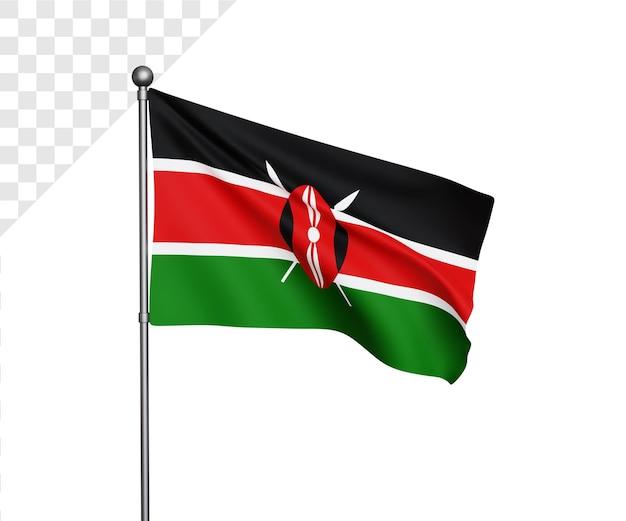 Ilustração 3d da bandeira do quênia