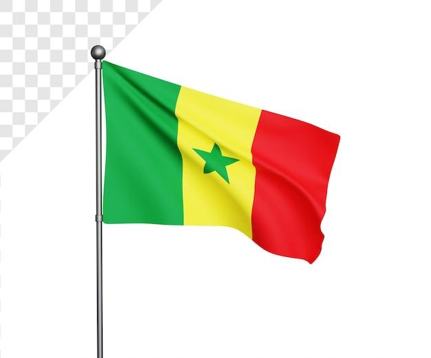 Ilustração 3d da bandeira do senegal