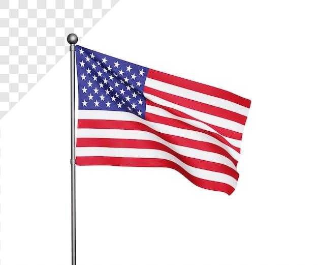 Ilustração 3d da bandeira dos estados unidos da américa