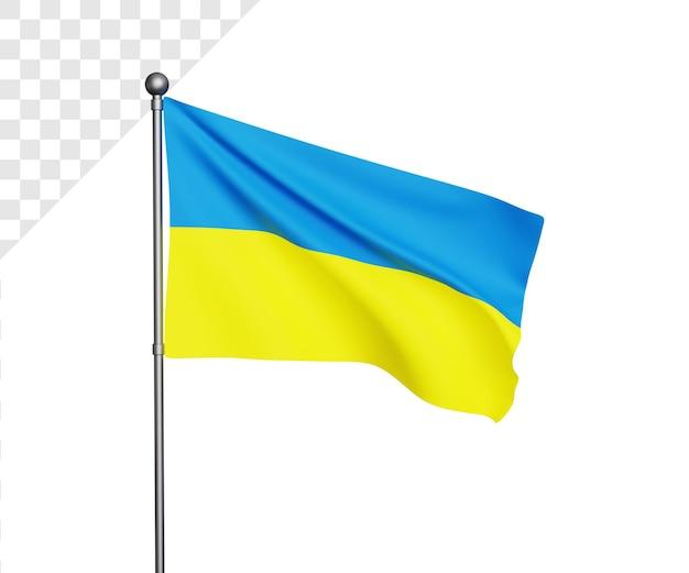 Ilustração 3d da bandeira ucraniana