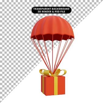 Ilustração 3d da caixa de presente airdrop