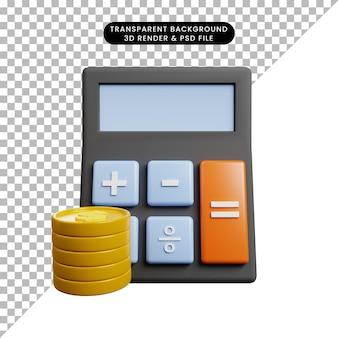 Ilustração 3d da calculadora do conceito de pagamento com moeda