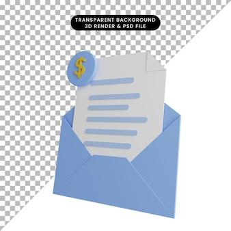 Ilustração 3d da carta aberta com ícone de dólar