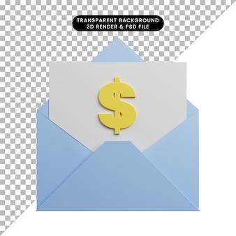 Ilustração 3d da carta de conceito de pagamento com dólar no papel