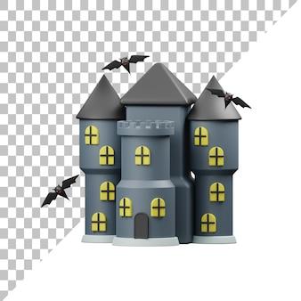 Ilustração 3d da casa assustadora