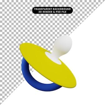 Ilustração 3d da chupeta de brinquedo