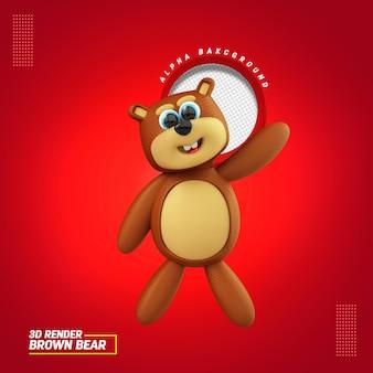 Ilustração 3d da composição do urso pardo para o dia das crianças