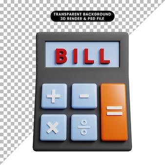 Ilustração 3d da conta da calculadora do conceito de pagamento