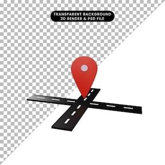 Ilustração 3d da estrada com o ícone de localização