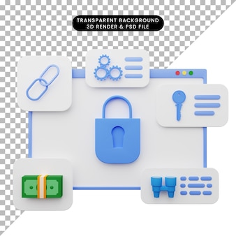 Ilustração 3d da ilustração da interface do usuário da web