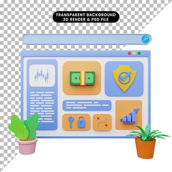 Ilustração 3d da ilustração da web com estilo 3d