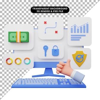 Ilustração 3d da interface do usuário com monitor e teclado