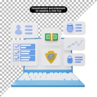 Ilustração 3d da interface do usuário no laptop