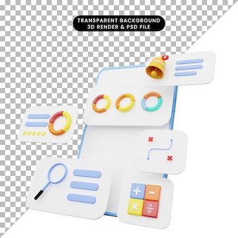 Ilustração 3d da interface do usuário no smartphone