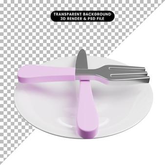 Ilustração 3d da linguagem de sinais com conceito de talheres pronto para o próximo menu