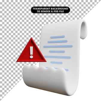 Ilustração 3d da lista de papel do conceito de pagamento com ponto de exclamação