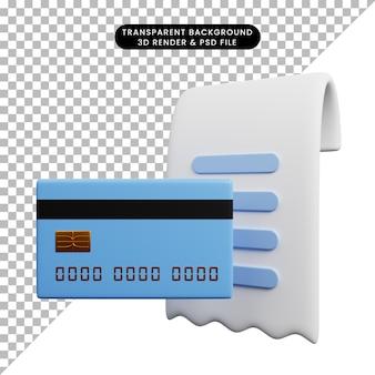 Ilustração 3d da lista de papel do ícone do conceito de pagamento com cartão de crédito