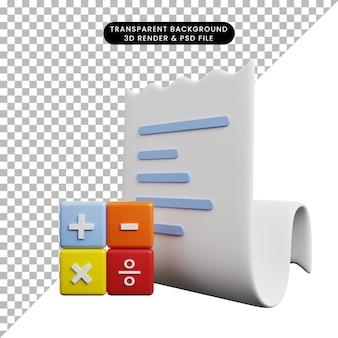 Ilustração 3d da lista de papel do ícone do conceito de pagamento com o ícone de cálculo
