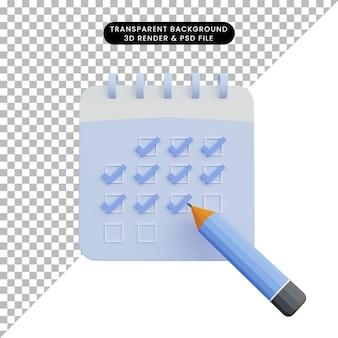 Ilustração 3d da lista de verificação do calendário com lápis