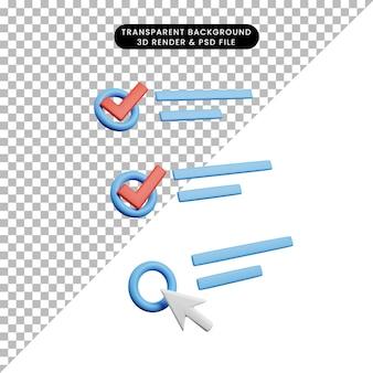 Ilustração 3d da lista de verificação do conceito de lista de verificação