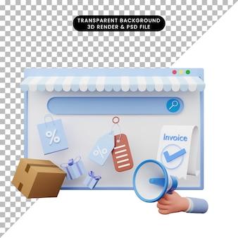 Ilustração 3d da loja online de ilustração da web