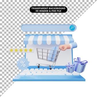 Ilustração 3d da loja online no laptop
