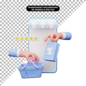 Ilustração 3d da loja online
