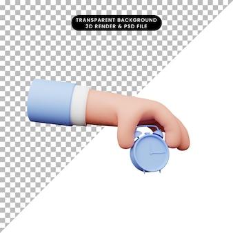 Ilustração 3d da mão com despertador