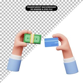 Ilustração 3d da mão com dinheiro e cartão de crédito