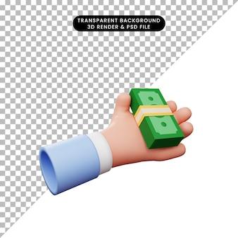 Ilustração 3d da mão com dinheiro