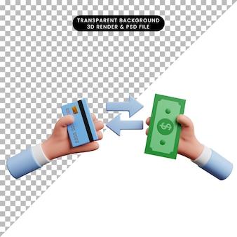 Ilustração 3d da mão do ícone do conceito de pagamento segurando dinheiro e cartão de crédito