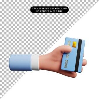 Ilustração 3d da mão do ícone do conceito de pagamento segurando o cartão de crédito