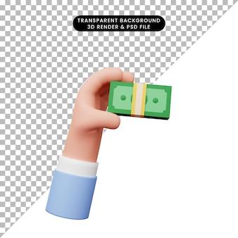 Ilustração 3d da mão mão tendo dinheiro