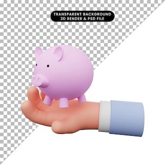Ilustração 3d da mão segurando o cofrinho