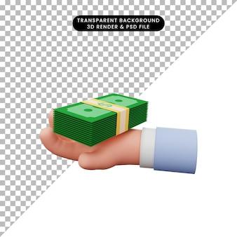 Ilustração 3d da mão segurando o estoque de dinheiro
