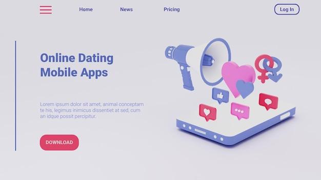 Ilustração 3d da página de destino para mídia social conceito de aplicativos para celular de namoro on-line
