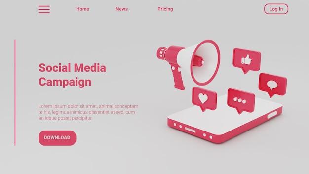 Ilustração 3d da página de destino para o conceito de campanha empresarial de mídia social