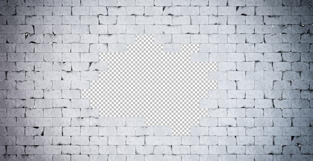 Ilustração 3d da parede de tijolos quebrados