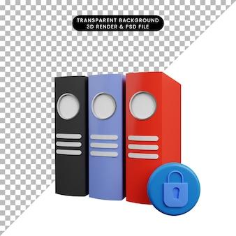 Ilustração 3d da pasta de conceito de segurança escritório com cadeado