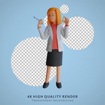 Ilustração 3d da personagem médica