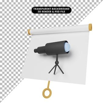 Ilustração 3d da placa de apresentação de objeto simples com visão ligeiramente inclinada com binóculo telescópio