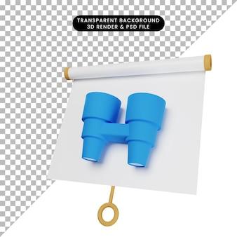 Ilustração 3d da placa de apresentação de objeto simples ligeiramente inclinada com binóculos