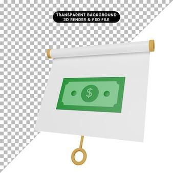 Ilustração 3d da placa de apresentação de objeto simples ligeiramente inclinada com dinheiro