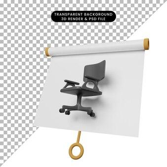 Ilustração 3d da placa de apresentação de objeto simples vista ligeiramente inclinada com cadeira de escritório