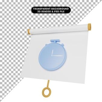 Ilustração 3d da placa de apresentação de objetos simples ligeiramente inclinada com o relógio