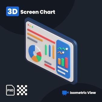 Ilustração 3d da tela do gráfico financeiro com vista isométrica