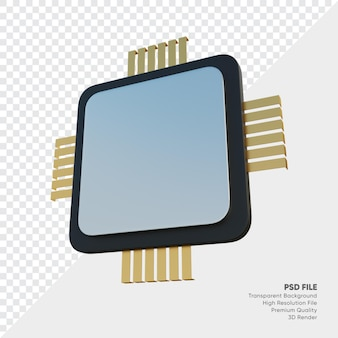 Ilustração 3d da unidade central de processamento