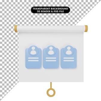 Ilustração 3d da vista frontal do painel de apresentação de objetos simples com recrutamento de candidatos