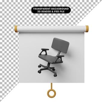 Ilustração 3d da vista frontal do quadro de apresentação de objeto simples com cadeira de escritório